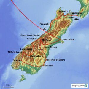 Neuseeland Map Südinsel